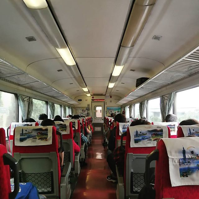 """Our train to Jiufen complete with a """"Train to Busan"""" feels when the car doors are open."""